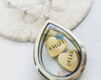 Custom name necklace, teardrop glass locket, floating locket, Personalized name necklace, gift for new mom, Mothers Day necklace