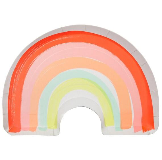 sc 1 st  Etsy & Rainbow Plates /Rainbow Paper Plate / Rainbow Shaped Party