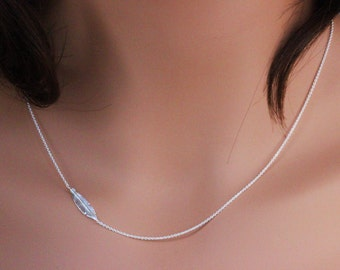 Feather Necklace , Silver Feather Necklace , Sterling Silver Sideways Feather Necklace , Sideways Silver Feather Necklace ,Layearing feather