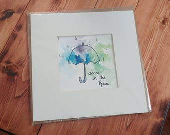 Dance in the Rain Handmade Watercolor Painting
