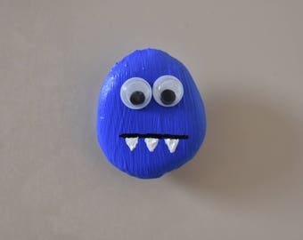 Cute Beach Stone Monster- Blue with Googly Eyes