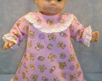 15 Inch Doll Clothes - Teddy Bears on Pink Flannel Nightie and Slippers handmade by Jane Ellen to fit 15 inch baby dolls