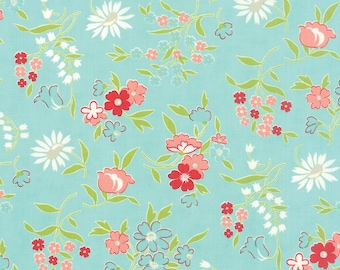 Vintage Picnic Floral Playful Aqua Fabric by Bonnie and Camille for Moda Fabrics