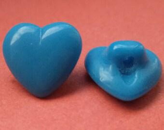 Heart glass buttons buttons for 5 kids light blue 12 mm (6194)