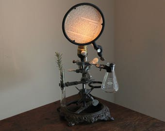 Science lamp chemistry decor industrial lighting steampunk laboratory upcycled desk table cool antique biology apothecary adjustable flask