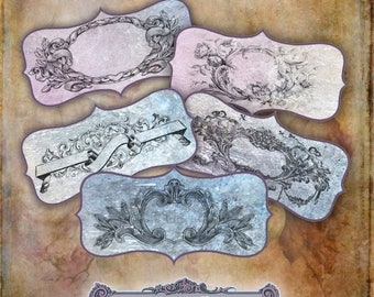 9 Vintage Banner Tags Collage Sheet
