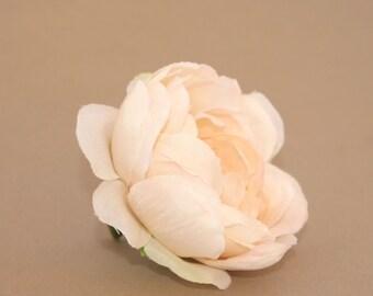 Cream Peach Blush Ranunculus - Silk Flowers, Artificial Flowers