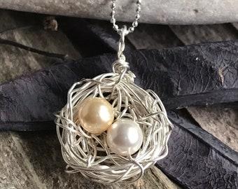 Bird Nest, Bird Nest Pendant, Bird Nest Necklace, Bird Nest Jewelry, Bird Nest with Eggs, Nest Necklace, Nest Pendant, Wire Wrapped Nest