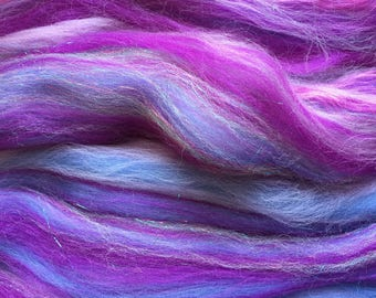 Shimmer Amethyst - Merino Wool/Silk/Trilobal Mix for Needle Felting, Wet Felting & Spinning approx 45gm