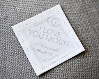 Groom Personalized Tie Patch • I love you most • 2nd Anniversary Cotton • Husband Suit Label • Wedding Gift • For Him • For Her