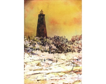 Old Baldy Lighthouse on Bald Head Island- North Carolina.  Lighthouse painting.  Watercolor lighthouse fine art print Bald Head Island art