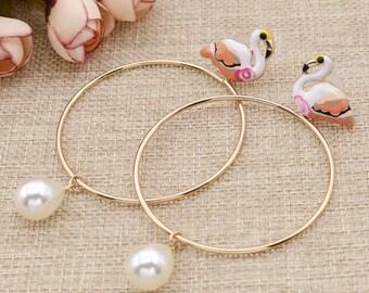 Flamingo Circle Hoop Earrings with Pendant Pearl
