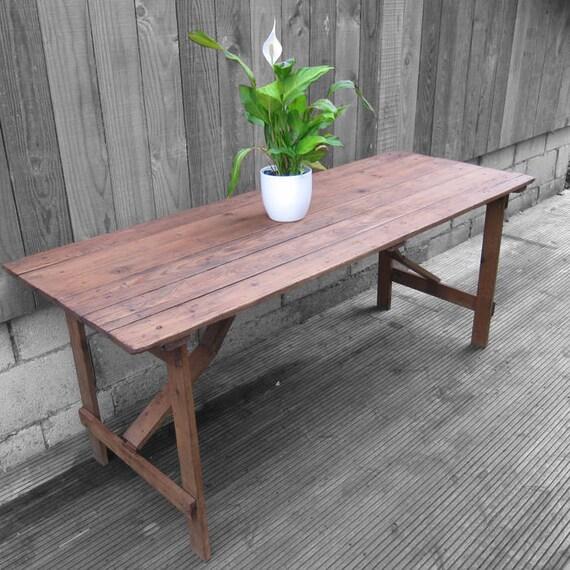 Rustic Trestle Table Folding Old Pine Vintage Desk Dining Restored