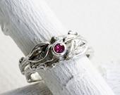 Ruby Twig Rings, Leaf Ring, Silver Branch Ring,Twig Ring, Leaf Engagement Ring