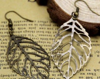 Leaf Earrings large Leaf Earrings, Bronze Leaf Earrings Leaf Earrings. Bridesmaid gift, fall wedding, gift for her, leaf jewelry, dangle,