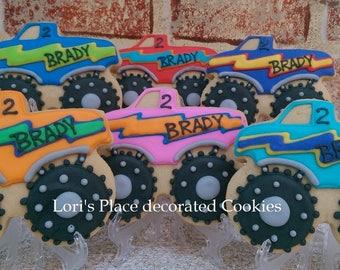 Monster Truck Cookies - Personalized Monster Truck Cookies - 12 Cookies