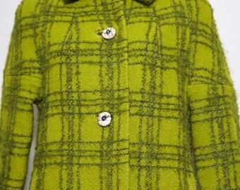 Avocado 1960s wool / mohair coat / jacket