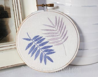 Lavender and Blue Hand Embroidery Botanical Hoop Art Wall Decor