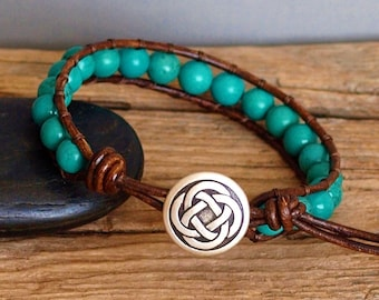Mens Stone Bead and Leather Bracelet, Turquoise Howlite Stone Bracelet, Mens Bohemian Leather Beaded Jewelry, Gift For Him