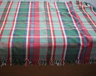 Vintage Crate and Barrel Plaid Fringed Tablecloth