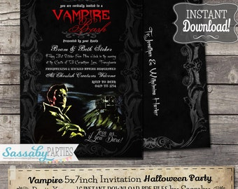 Vampire Halloween Party Invitation - INSTANT DOWNLOAD - Editable & Printable Goth, Dracula Invitation by Sassaby Parties