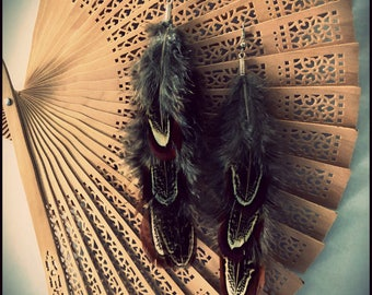 Tribal Boho Feather Earrings, Festival Wear, Everyday Wear