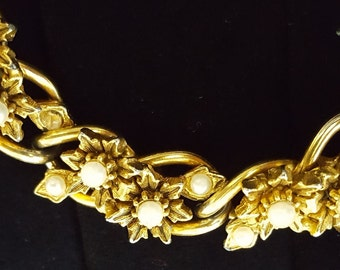 Articulating Bracelet Stunning Vintage Florenza Victorian Revival with Faux Seed Pearls Free Shipping!