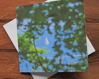 Sailing Boat Greetings card 14cm square