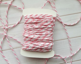 10 Yards Chunky Pink Baker's Twine, Pink and White Thick Twine, 100% Cotton