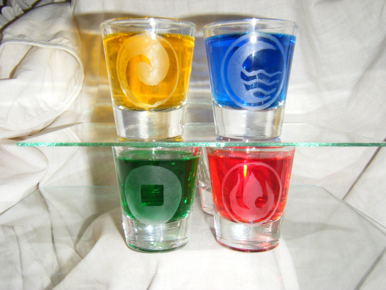 Avatar the last Airbender etched shot glass set of 4 fan art