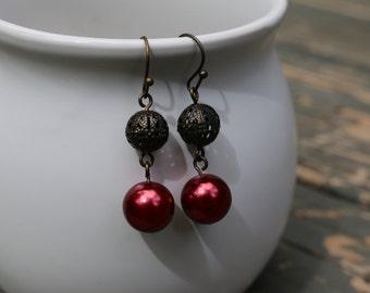 Red Pearl Earrings - Ball Earrings - Christmas Earrings