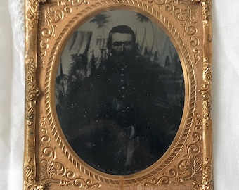Antique 1/6th plate ambrotype of Civil War era Union soldier in uniform | Sergeant | encampment backdrop | sixth plate | tents | teepees