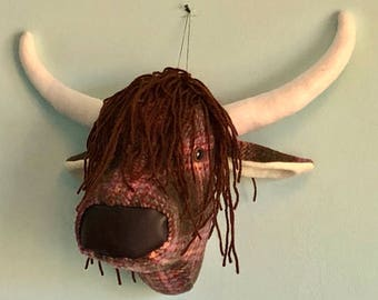 Faux taxidermy highland cow