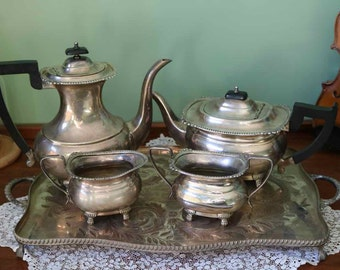 Viners Sheffield Silver Plated Tea Set. EPSN Bakelite Handle Tea Coffee Milk Sugar and Tray. In very good condition