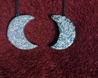 Holo Glitter Crescent Moon Necklaces