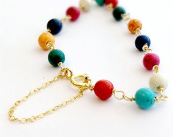 Turquoise Bracelet - Yellow Gold Jewelry - Multicolor Fashion Jewellery - Chain - Jewel Tones - Safety Chain