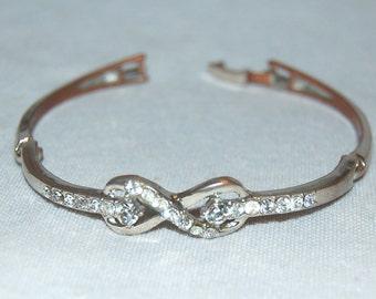 Rhinestone Bracelet, Clear Silver, Vintage old jewelry