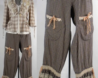 Shabby chic jacket beige cream cotton plaid upcycled altered size small size 6