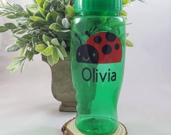 LADYBUG water bottle, Ladybug gift, PERSONALIZED Ladybug gift, Ladybug birthday, Ladybug party idea, Ladybug gift for girl, Spring gift idea