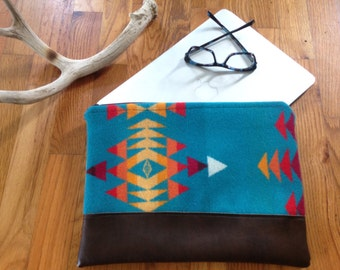 """Turquoise Computer Case made with genuine Pendleton® fabric""""."""