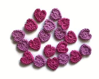 Pack of 20 Crochet hearts, crochet appliqués, 20 small hearts, cardmaking, appliqués, craft embellishments, wedding decorations.