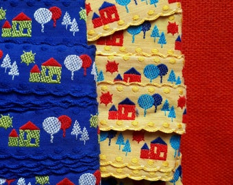 Vintage Cotton Trim Ribbon Houses Trees