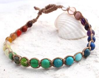 Rainbow Anklet, Rainbow Macrame Anklet, Gemstone macrame anklet, Rainbow ankle bracelet, Anklets for Adults, Semi precious gemstones anklets