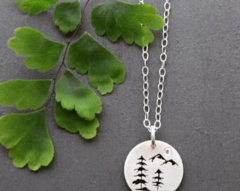Silver Tree Pendant, Silver pendant, Spruce Tree Necklace, Silver Jewelry, Mountain Pendant, West Coast Jewelry, Canadian Jewelry