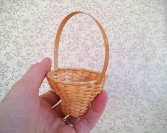 Vintage Miniature Woven Wicker Basket, Tapered Round Basket with Handle, Small Scale Wicker Basket
