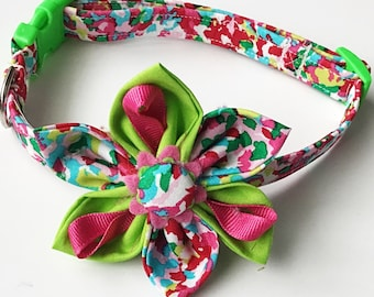 Pink and Green Spring or Easter Flower Collar for Girl Dog and Cat