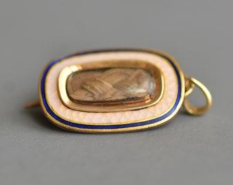 Antique Georgian Victorian opalescent & blue enamel mourning brooch charm 10k gold