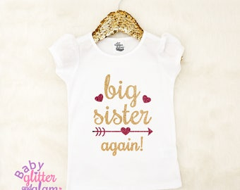 Big Sister Again Shirt, Pregnancy Announcement Shirt, Promoted to Big Sister, Big Sister to Be, Siblings Shirt, I'm Going to Be a Big Sister