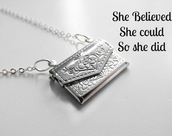 Silver Envelope Locket- She Believed She Could So She Did