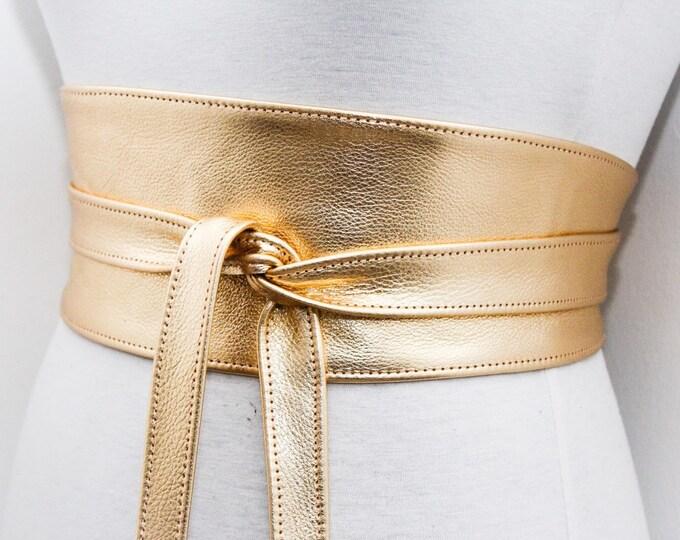Featured listing image: Gold Leather Obi Belt   Bridal Belt   Gold Sash Belt   Waist tie belt   Genuine Leather wrap Belt   Bridesmaid Belt   Waist Belt   Plus Size